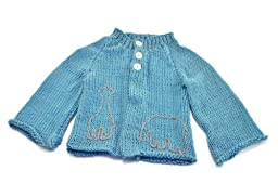 Toto Knits Animal Embroidery Cardigan Blue 12 Months