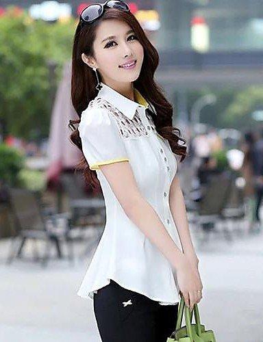 ZXR-Femme-en-dentelle--manches-courtes-bouffantes-perces-Taille-en-mousseline-de-soie-pour-femme