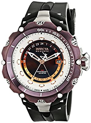 Invicta Men's 12776 Venom Reserve Brown River Pearl Dial GMT Black Artificial Rubber Watch