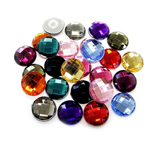 Linpeng 16MM Assorted Colors Faceted Round Acrylic Flat Back - no.B1- Approx. 25 Pcs/ Pack (Flat Back Gem compare prices)