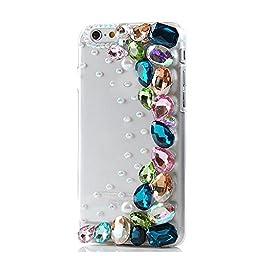 iPhone SE Case, Sense-TE Luxurious Crystal 3D Handmade Sparkle Diamond Rhinestone Clear Cover with Retro Bowknot Anti Dust Plug - Crystal / Rainbow