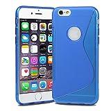 Apple iPhone6 [ 4.7 inch ] TPU グリップカバーケース ( アイフォン iPhone 6 4.7 インチ 対応 ) 薄型軽量18g / 滑止め加工 / ソフトフィットモデル / 半透明クリア 【MY WAY 出品カラー全7色】 (iPhone6 ( 4.7inch ), Design S Blue (青))