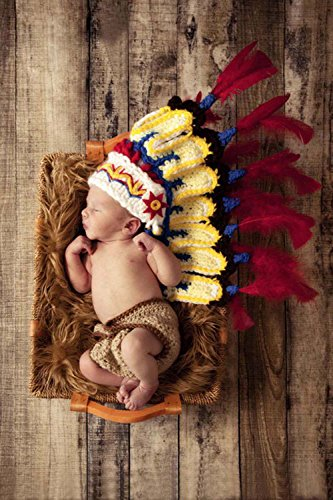 Jastore® Photography Prop Baby Infant Costume Indiana Crochet Knitted Hat Diaper