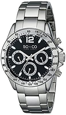 SO&CO New York Men's luminous Quartz Day and Date Stainless Steel Monticello Watch Collection