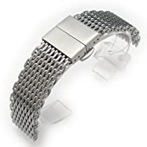 "22mm Ploprof 316 Reform Stainless Steel ""SHARK"" Mesh Watch Band Deployant Strap, AA"