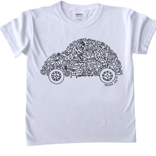 Car Design T-Shirt for colouring in.