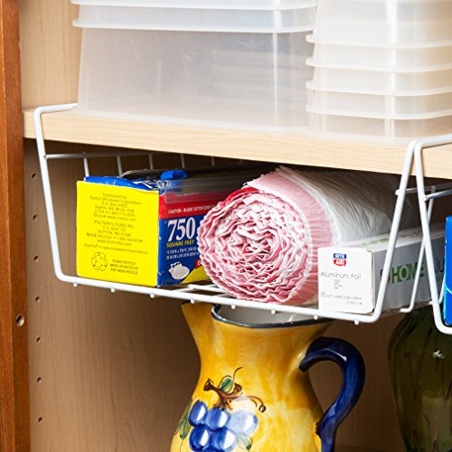 storage basket organizer 2 pack under shelf cabinet rack. Black Bedroom Furniture Sets. Home Design Ideas