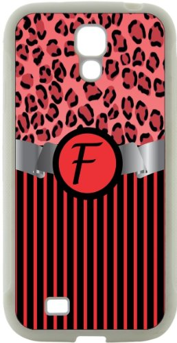 "Rikki Knighttm Letter ""F"" Initial Red Leopard Print And Stripes Monogrammed Design Samsung® Galaxy S4 Case Cover (White Hard Rubber Tpu With Bumper Protection) For Samsung Galaxy S4 I9500 front-600377"