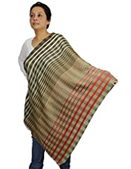 Shalinindia Indian Accessory Women Scarf Modern Striped Pattern Wool Silk Blend