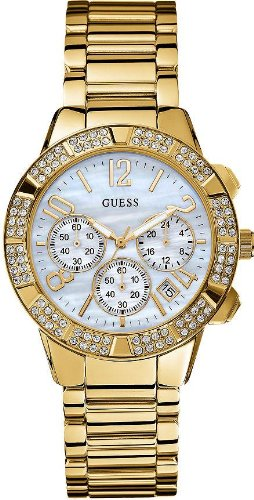 GUESS Women's U0141L2 Yellow Gold-Tone Crystal Sport Chronograph Watch
