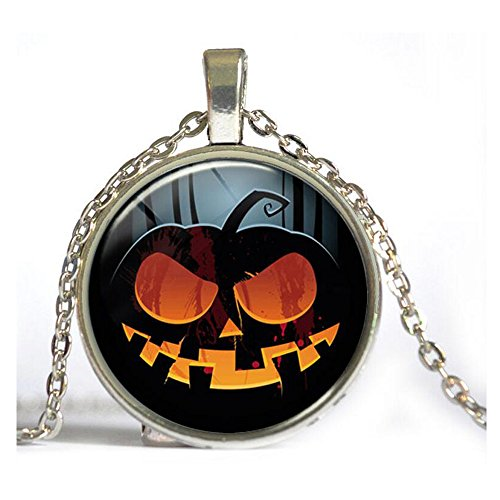 Darkey Wang Woman Retro Fashion Personality Unique Halloween Horror Gem Necklace(Sliver) (Bar Keepers Friend Grill compare prices)