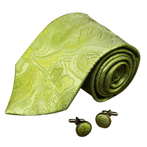 A1083 Yellow Green Patterned Formal Presents Mens Various Gift Silk Tie Cufflinks Set 2PT By Y&G
