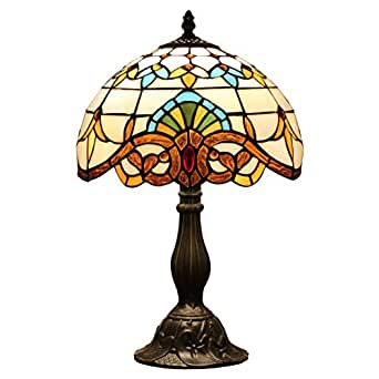 Difuni S003C12T02 Tiffany Style Table Lamps For Living Room With 12 Inch Shad