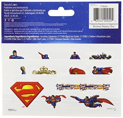 DC Comics SUPERMAN Temporary Tattoos (25 Count)