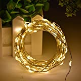 HAHOME 33ft 100 LEDs USB Starry String Lights with Power Adapter for Wedding Christmas Party Decoration Warm White
