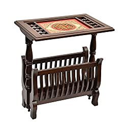 ExclusiveLane Teak Wood Magazine Stand Cum Side Table With Dhokra And Warli Work-Console Table, Magazine Holder , Bedside table