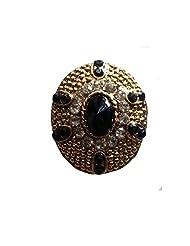 Unicorn Adjustable Black And White Ethnic Fashion Ring In Non-Precious Metal Kundan Polki Ring For Women