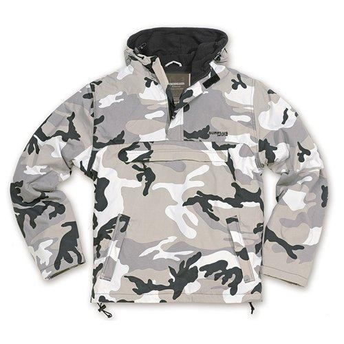 Surplus Hooded Mens Anorak Windbreaker Rain Jacket with Fleece Urban Camo