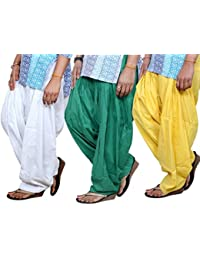 SPV Women's Cotton Patiala Salwar (SPV_0081_White, Green & Yellow_Free Size_Pack Of 3)