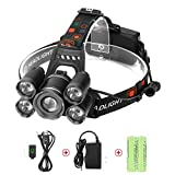 LED Headlamps, Neolight Super Bright 5 LED High Lumen Rechargeable Zoomable Waterproof Head torch Headlight for Outdoor Hiking Camping Hunting Fishing Cycling Running Walking (Color: Black)