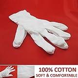 Brand New DERMATOLOGICAL COTTON GLOVES 100% Cotton White Soft Grippy Moisturising Skin Ideal for Gardening Serving Waiter Butler Kitchen Snooker Utility Work Music Santa Magician Clown