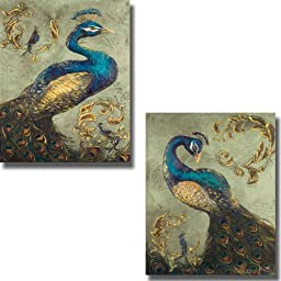 Peacock on Sage I & II by Tiffany Hakimpour 2-pc Premium Stretched Canvas Set (Ready-to-Hang)