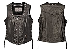 Milwaukee Motorcycle Clothing Company Front Zip Ladies Vest with Studs and O Rings Lace Sides (Black, XX-Large)