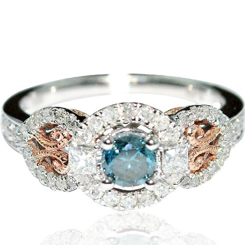 For sale Blue Diamond and White Diamond Engagement Ring & Rose Gold 10k White Gold Engagement .9ct