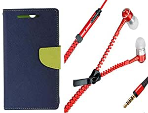 Novo Style Wallet Case Cover For Samsung Galaxy Note 2 7100 Blue + Zipper Earphones/Hands free With Mic 3.5mm jack