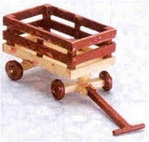 Dollhouse Miniature Red Wood Wagon