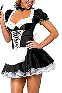 Acediscoball Women's Maid Apron Valentines Fancy Dress Costume Outfit