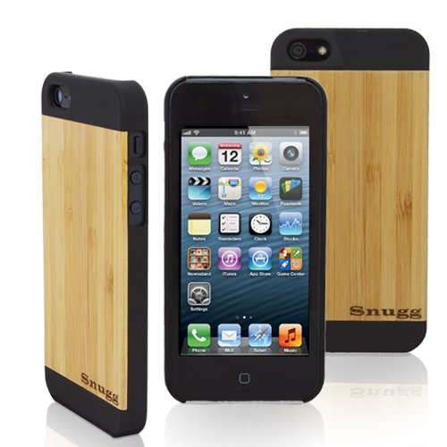Snugg iPhone 5 / 5S Ultra Thin Case in Black with Real Bamboo Wood Rear - High Quality Slim Profile Non Slip, Protective and Soft to touch for Apple iPhone 5 / 5S