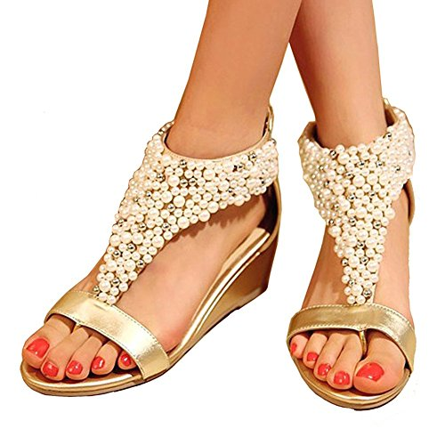 Getmorebeauty Women's Ankle Strappy Gold Across Pearls Peep Toes Zipped Sandals 8 B(M) US