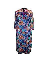 REEDNPICK EMBROIDERED CHEST AND LACE ON FRONT LADIES KURTI BLUE FLORAL