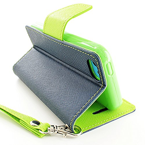 Mylife (Tm) Lime Green + Blue Gray {Neon Design} Faux Leather (Card, Cash And Id Holder + Magnetic Closing + Hand Strap) Slim Wallet For The Iphone 5C Smartphone By Apple (External Textured Synthetic Leather With Magnetic Clip + Internal Secure Snap In Ha