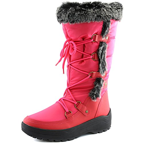 Women's DailyShoes Woman's Knee High Up Warm Fur Water Resistant Eskimo Snow Boots, Hot Pink 8 B(M) US
