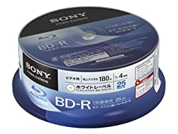 Sony Blu-ray Disc 25 Spindle cake pack - 25GB 4X Speed BD-R Printable Discs