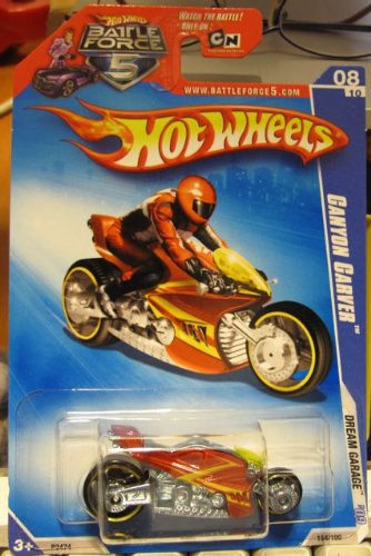 Hot Wheels 2009-154 Dream Garage Canyon Carver 8/10 RED Motorcycle - 1