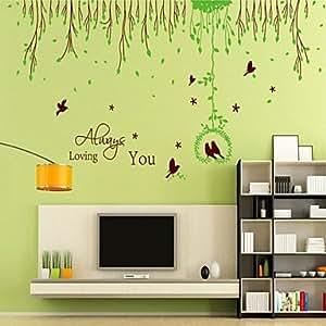pi wandaufkleber wandtattoo stil v gel fliegen in der frische gr ne bl tter pvc wandaufkleber. Black Bedroom Furniture Sets. Home Design Ideas