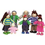 Lelin Wooden Big Family Doll House Figures Childrens Pretend Play Toy