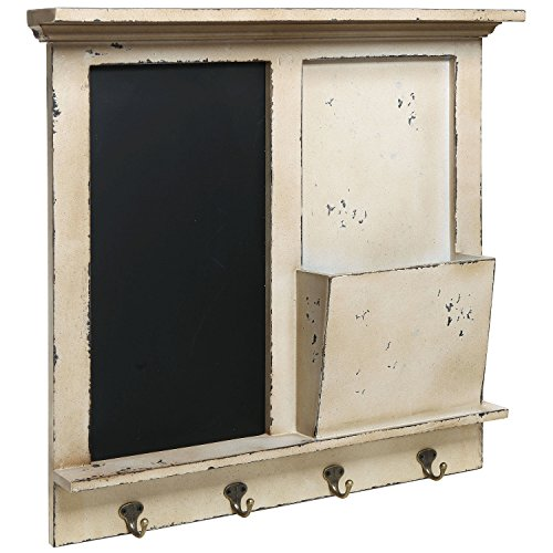 Vintage Wood Wall Mounted Chalkboard Rack, Magazine Holder / Mail Sorter Basket, 4 Coat / Key Hooks 0