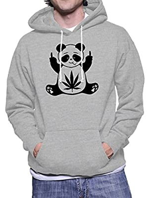 Mens Hoodie with Panda and Cannabis Leaf print.