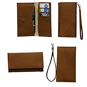 Jo Jo A5 G8 Leather Wallet Universal Pouch Cover Case For Micromax A55 Bling 2 Brown