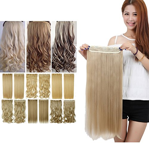 [Sexybaby Synthetic Fiber Straight 150G Clip in Extension Hairpieces with 5 Clips (Ash Blonde,30] (Glamour Costumes 2016)