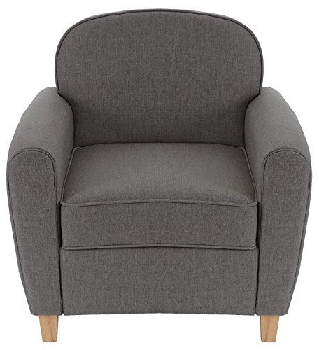 Fauteuil de salon coloris gris foncé en polyester et bois, H 85 x P 74 x L 84 cm -PEGANE-
