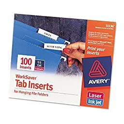 Avery 11136 - Printable Inserts for Hanging File Folders, 1/5 Tab, Two Inch, White, 100/Pack-AVE11136