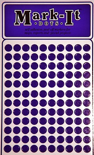 "Map Dot Stickers - 1/4"" Diameter - Purple"