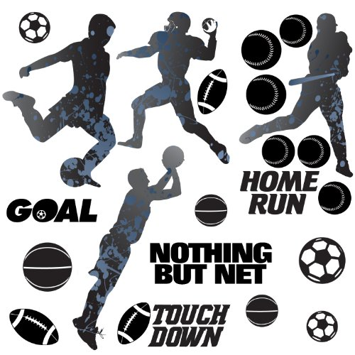 RoomMates RMK1312SCS Sports Silhouettes Peel & Stick Wall Decals