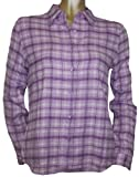 Juniors Long Sleeve Button Up Pastel Flannel Shirt