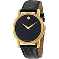 Movado Museum Gold Plated Round Men's or Women's Watch (Black)